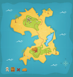 treasure island and pirate map vector image