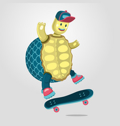 turtle on a skateboard funny cartoon style vector image