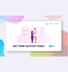 vaccination website landing page doctor injecting vector image