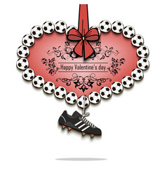 valentines day and heart from soccer balls vector image