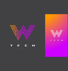 W letter logo technology connected dots letter vector