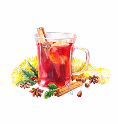 Watercolor mulled wine christmas isolated on vector