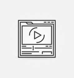 web page in browser with video player vector image