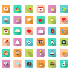 wedding icon set in flat style with shadow symbols vector image