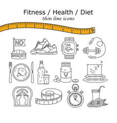 weight loss diet icons set vector image