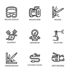 Welder icon set outline style vector