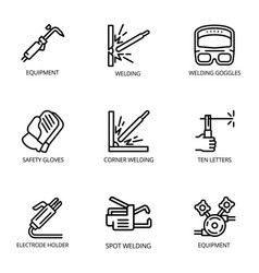 Welding tools icon set outline style vector
