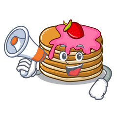 With megaphone pancake with strawberry character vector