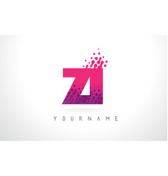 Zi z i letter logo with pink purple color and vector