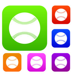 baseball set color collection vector image vector image