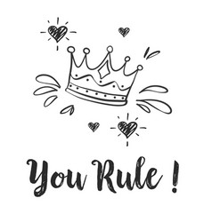 doodle of crown sketch collection vector image vector image