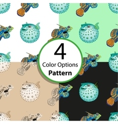 Four options seamless pattern with tropical fish vector image vector image