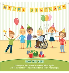 Group of happy children congratulates disabled vector image vector image