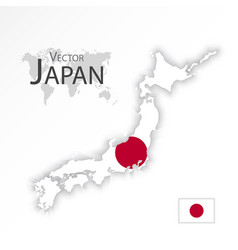 japan map and flag vector image vector image