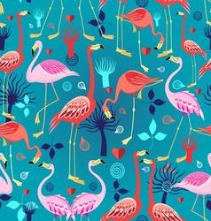 Seamless graphic pattern of flamingos in love vector image vector image