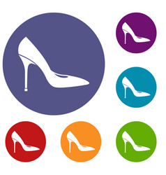 women shoe with high heels icons set vector image
