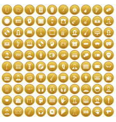 100 audience icons set gold vector