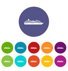 cruise ship set icons vector image