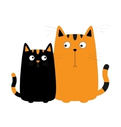 Cute red orange cartoon cat boy and black kitty vector image vector image