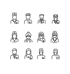 Doctor icons nurse symbols medical professionals vector image