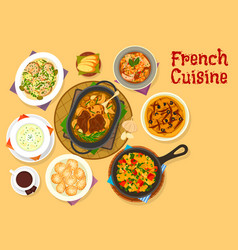 french cuisine famous dinner dishes icon design vector image vector image