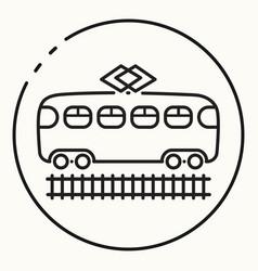 minimal outline tram icon vector image