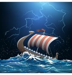 Viking medieval warship in stormy sea vector image