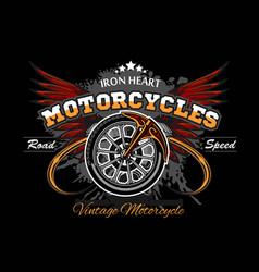 wheel and wings - motorcycle wheel vector image