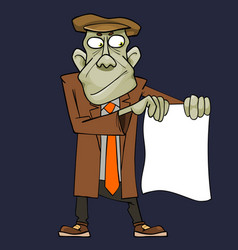 Cartoon green man in suit showing blank sheet vector