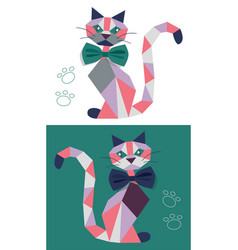 cat from geometric figures vector image