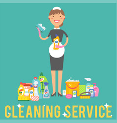Cleanser woman chemical housework product care vector