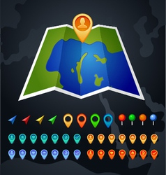 map with GPS and pin icon vector image