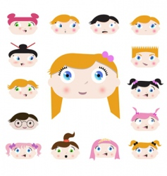 cartoon kids face vector image vector image