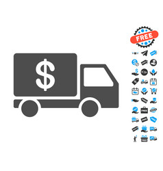 cash delivery flat icon with free bonus elements vector image vector image