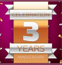 Three years anniversary celebration design vector