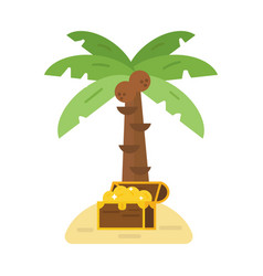 treasure chest and green palm tree vector image vector image