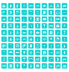 100 home icons set grunge blue vector