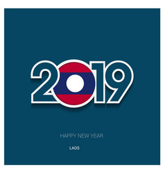 2019 laos typography happy new year background vector