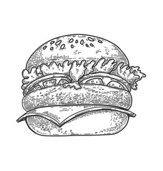 a burger in line style design element for emblem vector image