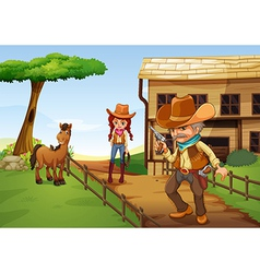 A cowgirl and an armed cowboy near the barnhouse vector