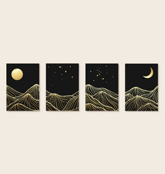 abstract art mountain black and golden line-art vector image
