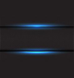 abstract blue light on dark hexagon mesh vector image