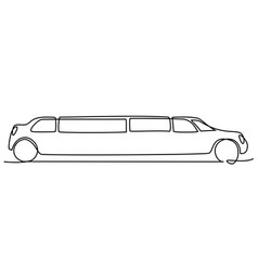 abstract limousine one line drawing vector image