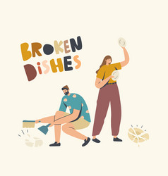 Angry woman breaking dishes throw plates on floor vector