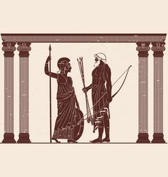 Athena pallada and odysseus vector