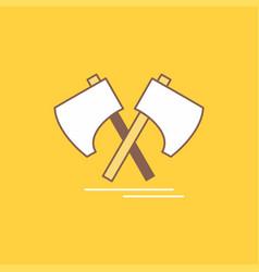 axe hatchet tool cutter viking flat line filled vector image