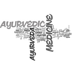 Ayurvedic medicine system text word cloud concept vector