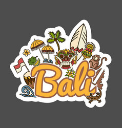 Bali travel sticker vector
