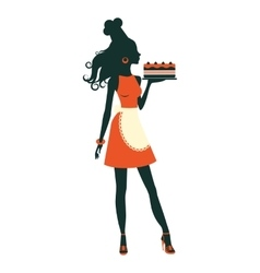 Beautiful baker holding freshly baked cake vector image