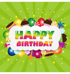 Birthday Cloud With Green Sunburst vector image vector image